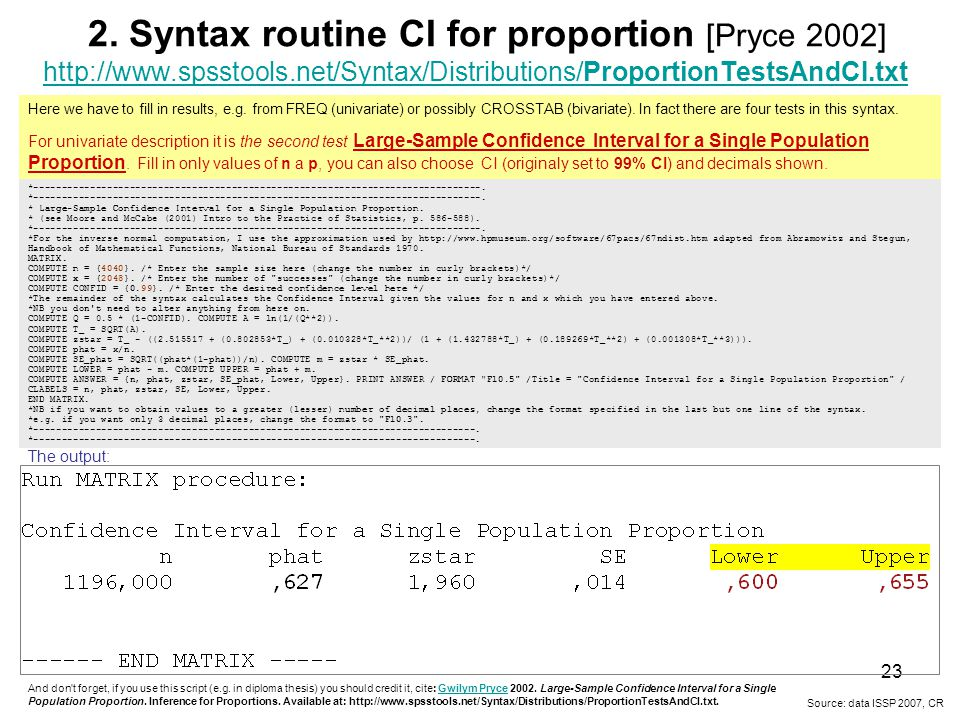 2. Syntax routine CI for proportion [Pryce 2002]